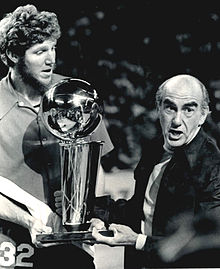 Bill Walton and Jack Ramsey celebrate an NBA Championship