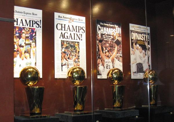 San Antonio Spurs Championship thropies
